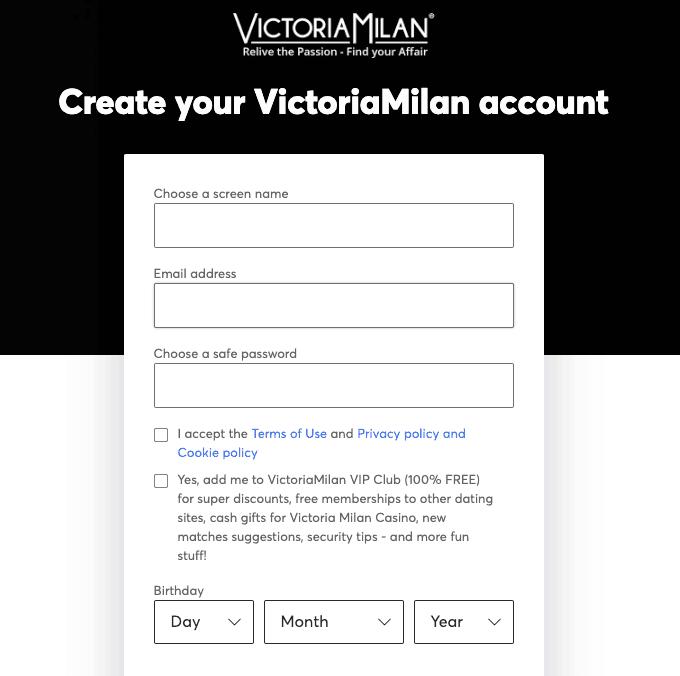 victoria milan créer un compte