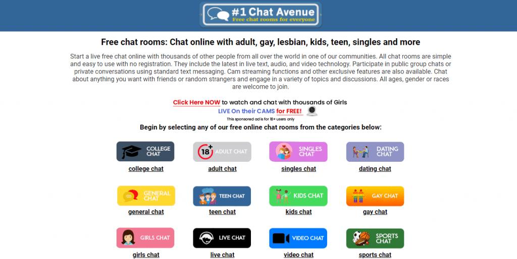 página de inicio de chat avenue