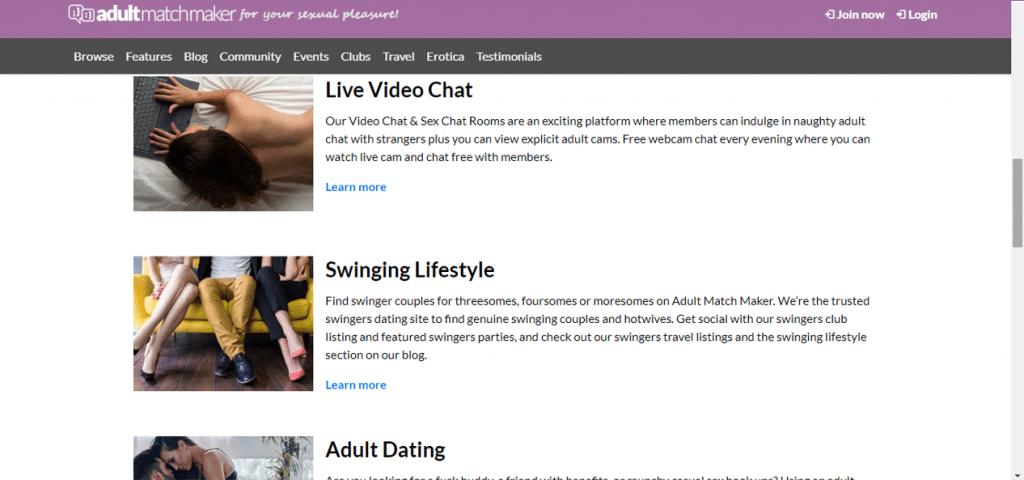 page de matchmaker pour adultes